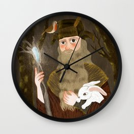 the brown wizard Wall Clock