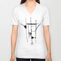 stripe V-neck T-shirts featuring Stripe by LilianaPerez