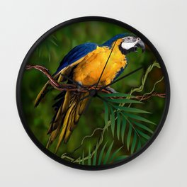 BLUE-GOLD MACAW PARROT IN JUNGLE Wall Clock
