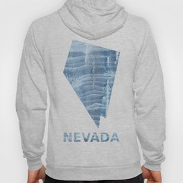 Nevada map outline Light steel blue blurred wash drawing design Hoody