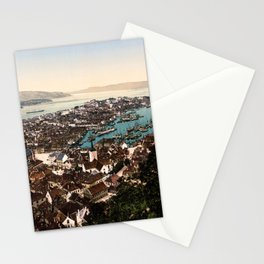 A panoramic view of the city of Bergen in Hordaland, Norway Stationery Cards
