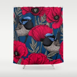 Fairy wren and poppies Shower Curtain