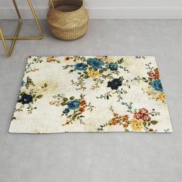 Cream Blue Yellow Floral Rug