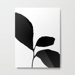 Minimalist Plant Silhouette - Three Leaf Seedling Black Metal Print
