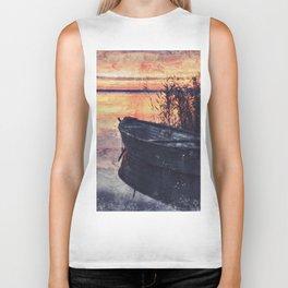Boat Sunset Dawn Biker Tank