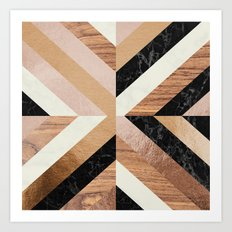 Copper Marble Wood Art Print