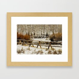 snowy fence Framed Art Print