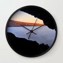 Del Medio Cave. Sunset at the beach. La Gomera Wall Clock