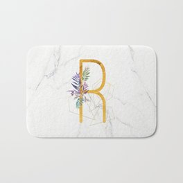 Modern glamorous personalized gold initial letter R, Custom initial name monogram gold alphabet prin Bath Mat