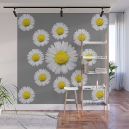 WHITE SHASTA DAISY FLOWERS  DECORATIVE GREY ART Wall Mural
