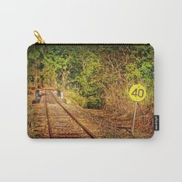 Old train track and speed sign Carry-All Pouch