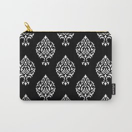 Orna Damask Pattern White on Black Carry-All Pouch