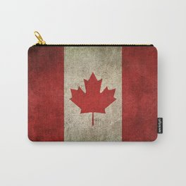 Old and Worn Distressed Vintage Flag of Canada Carry-All Pouch