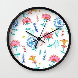 Summer Time Flowers Wall Clock