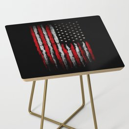 Red & white Grunge American flag Side Table