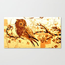 Owl on maps Canvas Print