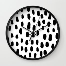 Spots black and white minimal dots pattern basic nursery home decor patterns Wall Clock