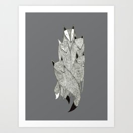 Foxes & Badgers Art Print