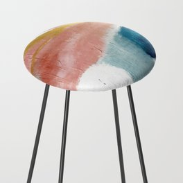 Exhale: a pretty, minimal, acrylic piece in pinks, blues, and gold Counter Stool
