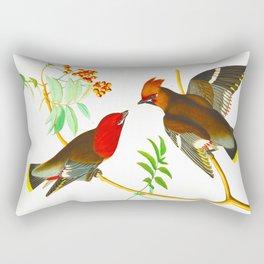 Bohemian Chatterer Bird Rectangular Pillow