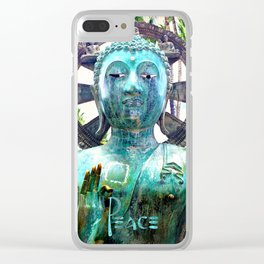 """""""Peace"""" Quote Asian Turquoise Blue Buddha Statue Clear iPhone Case"""