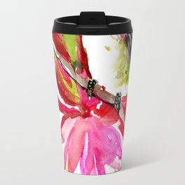 Little Hummingbird and Tropical Flowers Travel Mug