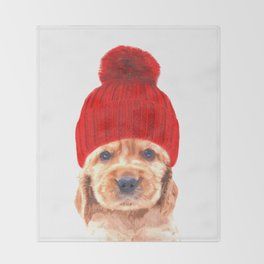 Cocker spaniel puppy with hat Throw Blanket