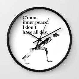 unny yoga print, original yoga art, unique yoga gift, black and white, modern, inner peace, drawing Wall Clock
