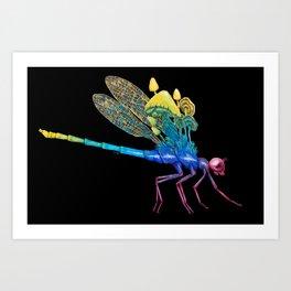 Watch your Back, Rainbow Dragonfly Art Print