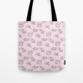 Modern hand painted pink white roses floral polka dots Tote Bag