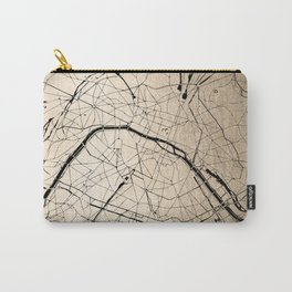 Paris France Minimal Street Map - Gold on Black II Carry-All Pouch