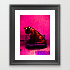 Cat and a Hot Pink Wall Framed Art Print