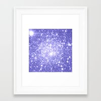 lavender Framed Art Prints featuring Lavender Periwinkle Sparkle Stars by Whimsy Romance & Fun