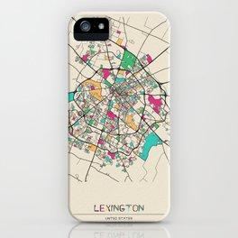 Colorful City Maps: Lexington, Kentucky iPhone Case