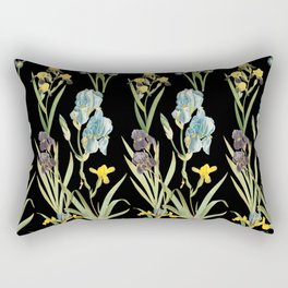 Vintage Floral Pattern | No. 2A | Iris Flowers | Irises Rectangular Pillow