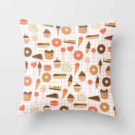 Cute Sweets, Pies, Cakes, Donuts, Eclairs and Pancakes in red and brown Throw Pillow