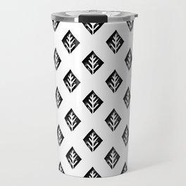 Linocut scandinavian minimal black and white trees camping pattern minimalist art Travel Mug