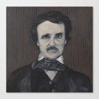 edgar allan poe Canvas Prints featuring Edgar Allan Poe by Melinda Hagman