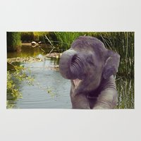 baby elephant Area & Throw Rugs featuring Baby Elephant by Erika Kaisersot