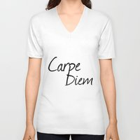 carpe diem V-neck T-shirts featuring Carpe Diem  by Xchange Art Studio