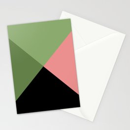 Modern Minimal Green and Pink Geometric Abstract  Stationery Cards