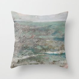 THE FLIGHT OF THE SEAGULLS OVER THE SEA Throw Pillow