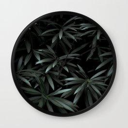 Deep Dark Dense Olive Green Plant Leaves Natural Leaf Pattern Symmetry Starburst Leaves Wall Clock