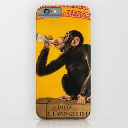 Vintage Anisette Liquor Italian Drinking 'Drunken Monkey' Aperitif Advertisement Poster iPhone Case