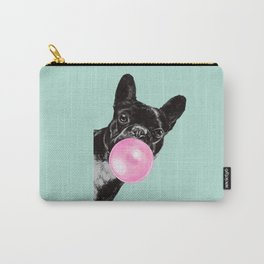 Bubble Gum Sneaky French Bulldog in Green Carry-All Pouch