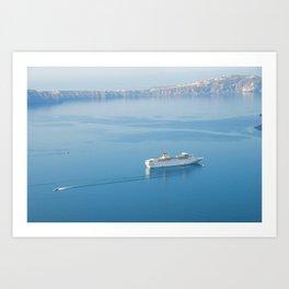 Cruise liner at the sea near Santorini island, Greece Art Print