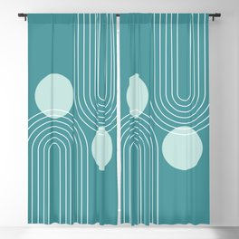 Mid Century Modern Geometric 72 in Teal Green (Rainbow and Sun Abstraction) Blackout Curtain