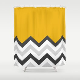 Color Blocked Chevron 17 Shower Curtain