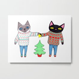 Cats in Sweaters Trimming the Christmas Tree Metal Print