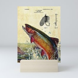 Vintage Trout Fly Fishing Lure Patent Game Fish Identification Chart Mini Art Print
